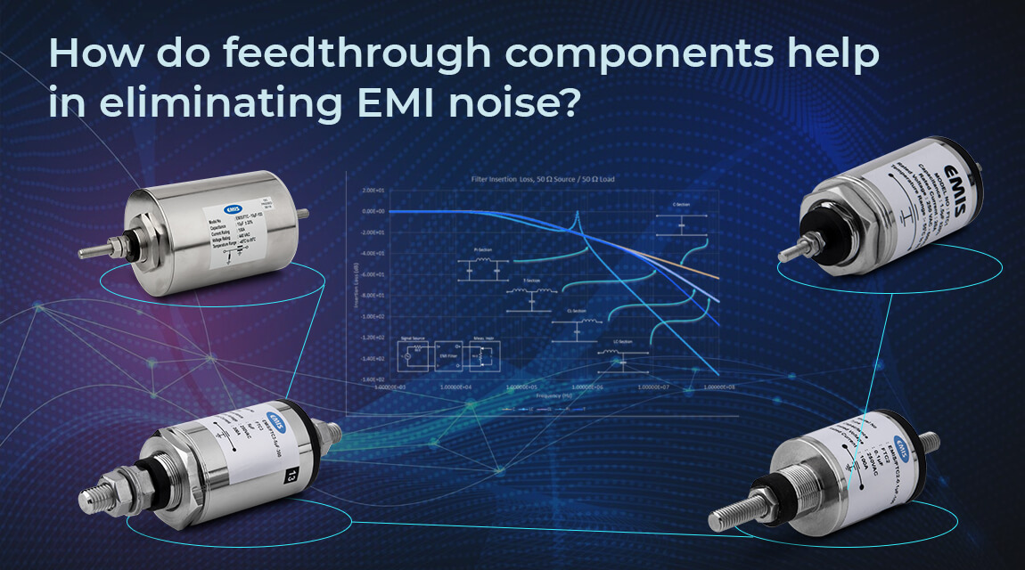 How do feedthrough components help in eliminating EMI noise?
